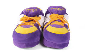 happy feet mens and womens los angeles lakers nba sneaker slippers