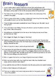 ideas of middle brain teaser worksheets on cover