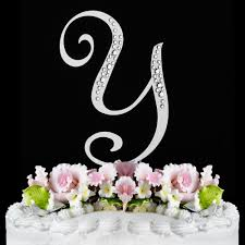 cake topper monogram y sparkle silver wf monogram wedding cake toppers