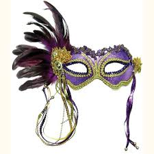 mask with feathers purple gold metallic eye mask with side feathers