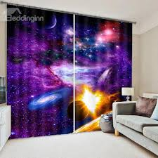 Hotel Room Darkening Curtains Splendid 3d Galaxy Print Room Darkening Curtain 3d Curtains