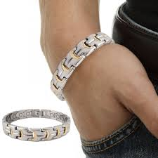titanium bracelet men images Titanium steel magnetic bracelet men satin finished gold color jpg