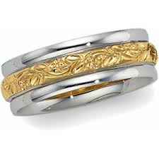 14k two tone vintage style 6 0mm floral wedding band