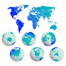 World Map Silhouette Blue World Map And Earth Globes Royalty Free Vector Clip Art Image
