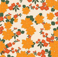 vintage floral wallpaper orange free stock photo public domain