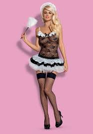 housemaid maid costume top with garters skirt thong