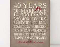 40 year wedding anniversary gift 40 year anniversary etsy