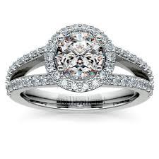 halo split shank engagement ring in platinum