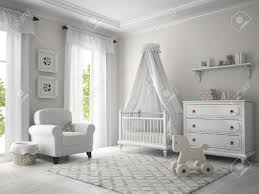 classic children room white color 3d rendering stock photo