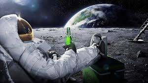 astronaut drinking carlsberg beer moon space wallpaper