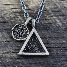 mens necklace images Mens triangle necklace black silver carpe diem jpg