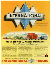 international trucks vintage ad featuring triple diamond logo