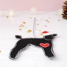 personalised dog handmade fabric christmas decoration by ren and