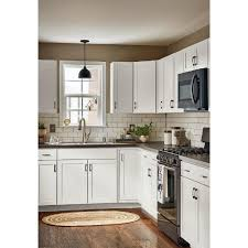 pictures of kitchen cabinets at lowe s now arcadia 18 in w x 35 in h x 23 75 in d truecolor white door and drawer base stock cabinet