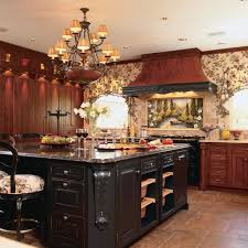 this gorgeous traditional kitchen features warm cherry cabinetry