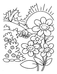 spring flower coloring pages for kids printable 9 zombie sun