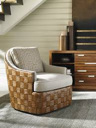 Rattan Swivel Rocker Chair Tommy Bahama Swivel Chair With Woven Rattan Parquet Design
