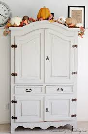 White Vintage Armoire Roadside Armoire Makeover Domestically Speaking