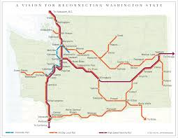 Map Of State Of Washington by A Proposed Map Of Passenger Rail In Washington State 1279x988
