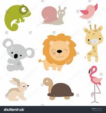 set cute baby animals cartoon style stock vector 649568539