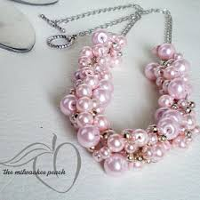 necklace pearl pink images Shop pink pearl statement necklace on wanelo jpg
