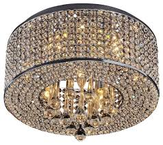 Crystal And Chrome Chandelier 7 Light Round Chrome Crystal Flush Mount Chandelier Pendant Light
