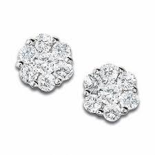 flower stud earrings 1 3 ct t w diamond flower stud earrings in 10k white gold