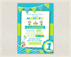 first birthday invitation boys monkey invite blue green printable