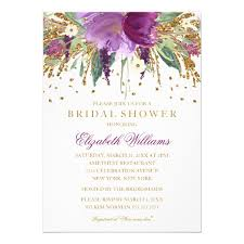 bridal invitation floral glitter sparkling amethyst bridal shower card zazzle