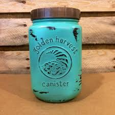 Blue Kitchen Canister Set Mason Jar Kitchen Canister Set Vintage Golden Harvest Turquoise
