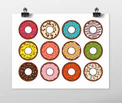 donuts art print kitchen wall art fun art print colorful