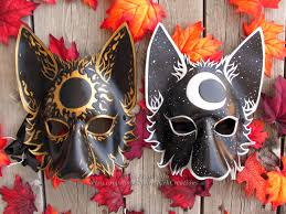 halloween fox leather wolf mask set mystic sun and moon leather wolf