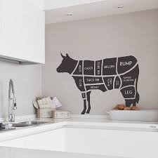 beef cow cuts of meat diagram wall sticker home decor kitchen butcher s cow wall sticker