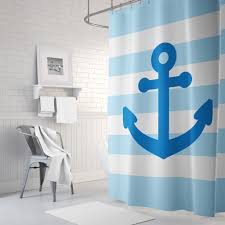 Nautical Anchor Shower Curtain Nautical Shower Curtain For Boys And Girls Anchor And Stripes