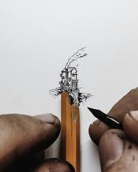 tiny ink drawings scaled to the size of pencils fingers and