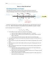limiting reactants wksht