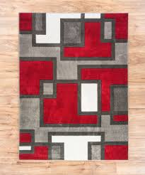 Geometric Area Rug Uptown Squares Grey Modern Geometric Comfy Casual