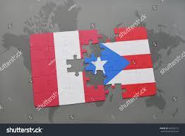 Puerto Rico On World Map Puzzle National Flag Peru Puerto Rico Stock Illustration 460920193