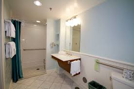 port orleans disability accessible guest rooms bathroom with roll shower area magnolia bend room
