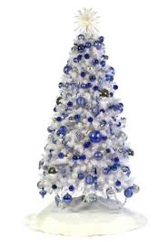 white tree with blue led lights happy holidays