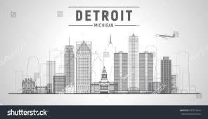 Michigan Business Travel images Detroit michigan usa city lines skyline stock vector royalty free jpg