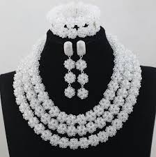 white crystal necklace set images Bright clear pure white crystal beads jewelry set nigerian african jpg