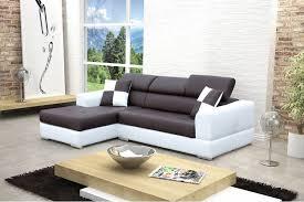 canape angle en cuir canapé design d angle madrid iv cuir pu noir et blanc canapés d