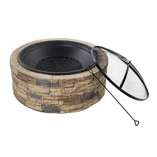 Allen Roth Fire Pit by Shop Sun Joe 35 In W Brown Stone Wood Burning Fire Pit At Lowes Com