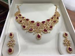 gold necklace ruby images 68 grams gold ruby necklace and earrings necklace collections jpg