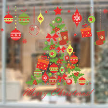 new christmas tree gift wall sticker decals window party store