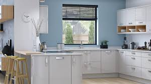 Yellow Kitchen Walls by Light Grey Kitchen Walls Silver Range Hood Blue Wooden Kitchen