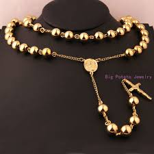 stainless steel ball necklace images High quality 10mm gold round ball necklace chain with jesus cross jpg