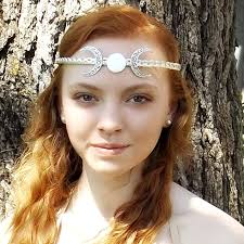 goddess headband crescent moon goddess circlet headband tiara thyme2dream