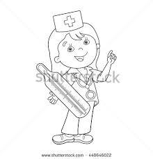 coloring outline cartoon doctor stock vector 442574338